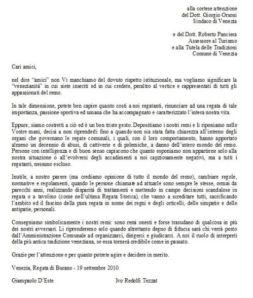 Lettera di I. Redolfi Tezatoe GP D'Este alle autorità